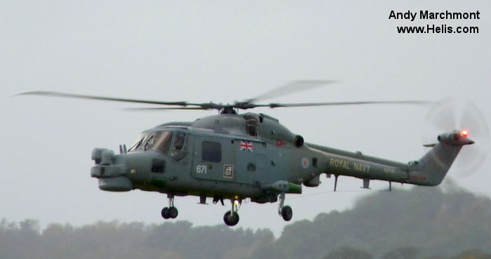 Helicopter Westland Lynx  HAS2 Serial 195 Register XZ726 used by Fleet Air Arm RN (Royal Navy). Built 1980. Aircraft history and location