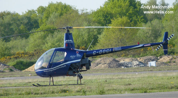 Helicopter Robinson R22 Beta Serial 2389 Register G-DOGI G-BVGS. Built 1993. Aircraft history and location