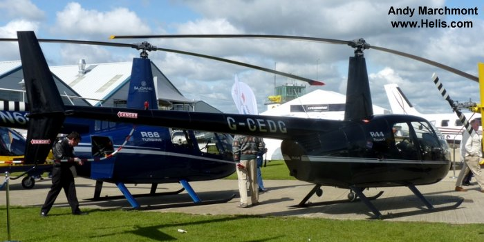 Helicopter Robinson R44 Raven Serial 1639 Register G-CEDG used by Heli Air Ltd. Built 2006. Aircraft history and location