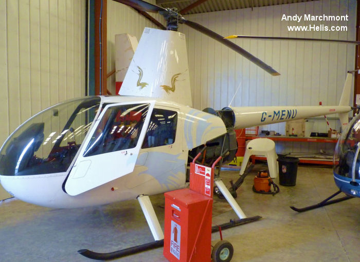 Helicopter Robinson R44 Raven II Serial 12664 Register G-MENU used by Heli Air Ltd. Built 2008. Aircraft history and location