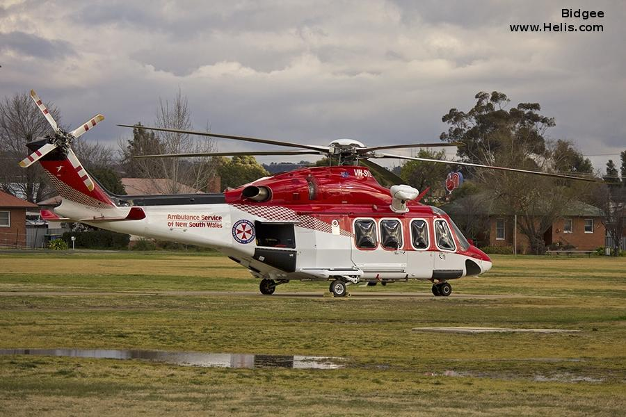Helicopter AgustaWestland AW139 Serial 31155 Register VH-SYZ used by Royal Australian Air Force RAAF ,Australia Air Ambulances NSW Ambulance ,CHC Helicopters Australia. Built 2009. Aircraft history and location