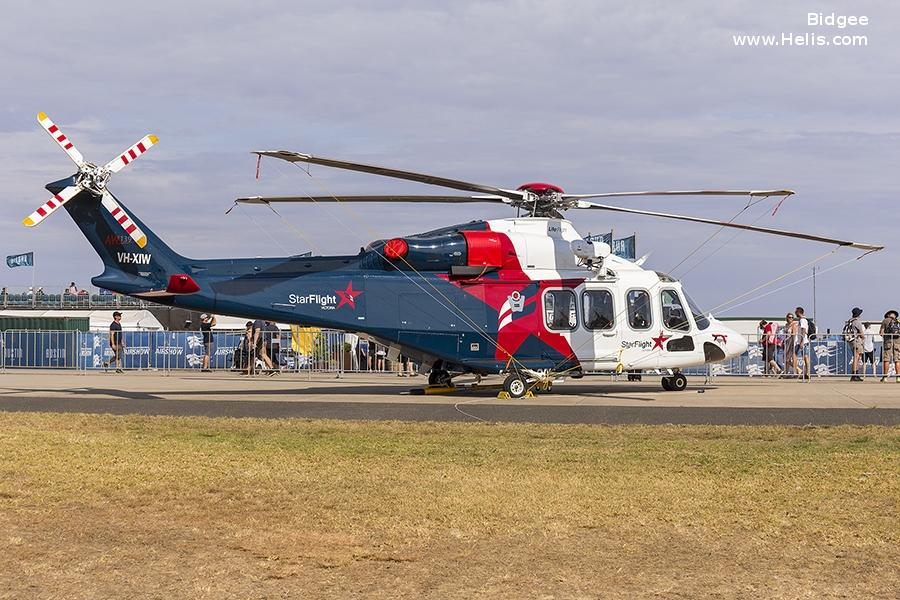 Helicopter AgustaWestland AW139 Serial 31784 Register VH-XIW used by StarFlight Australia ,Australia Air Ambulances LifeFlight (RACQ Life Flight Queensland). Built 2018. Aircraft history and location