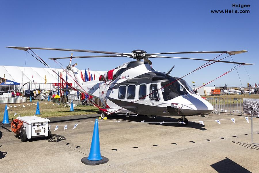 Helicopter AgustaWestland AW139 Serial 31108 Register VH-YHF VH-ESJ used by Australia Air Ambulances LifeFlight (RACQ Life Flight Queensland) ,Heliflite Australia ,QGAir (Queensland Government Air) ,Local Governments (Government of Australia). Built 2007. Aircraft history and location