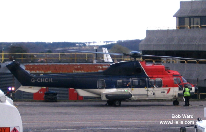 Helicopter Eurocopter AS332L2 Super Puma Serial 2601 Register G-CHCH used by Airbus Helicopters UK CHC Scotia. Built 2003. Aircraft history and location