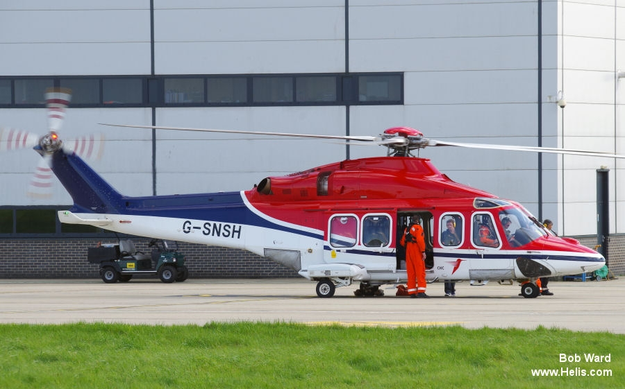 Helicopter AgustaWestland AW139 Serial 31474 Register PH-EUK G-SNSH VP-CHF G-LLOV used by CHC Helicopters Netherlands bv CHC Scotia CHC Cayman Islands. Built 2013. Aircraft history and location