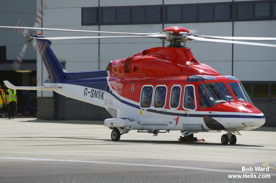 Helicopter AgustaWestland AW139 Serial 41354 Register G-SNSK RP-C3139 HS-UOE N152MM used by NHV Helicopters Ltd NHV UK ,CHC Scotia ,Milestone Aviation ,INAEC ,HNZ Group ,United Offshore Aviation ,AgustaWestland Philadelphia (AgustaWestland USA). Built 2013. Aircraft history and location