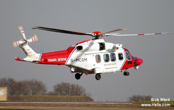 Helicopter AgustaWestland AW189 Serial 89001 Register G-MCGM used by HM Coastguard (Her Majesty's Coastguard) ,Bristow ,AgustaWestland UK. Built 2014. Aircraft history and location