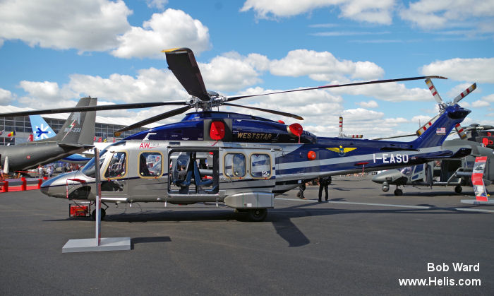 Helicopter AgustaWestland AW189 Serial 49012 Register 9M-WSS I-EASO used by Weststar Aviation WAS ,AgustaWestland Italy. Built 2014. Aircraft history and location