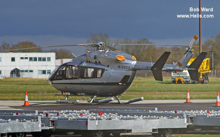 Helicopter Eurocopter EC145 Serial 9052 Register M-ONDE P4-LGB D-HMBE used by Eurocopter Deutschland GmbH (Eurocopter Germany). Built 2004. Aircraft history and location