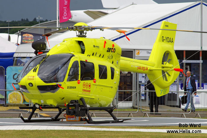 Helicopter Airbus Helicopters H145 / EC145T2 Serial 20086 Register G-YOAA used by UK Air Ambulances YAA (Yorkshire Air Ambulance) ,Airbus Helicopters UK. Built 2016. Aircraft history and location
