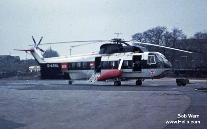 Helicopter Sikorsky S-61N Mk.II Serial 61-220 Register G-ASNL N220WW N4503E PH-SBH used by British European Airways (BEA) British Airways Helicopters US Department of State Carson Helicopters schreiner airways. Built 1963. Aircraft history