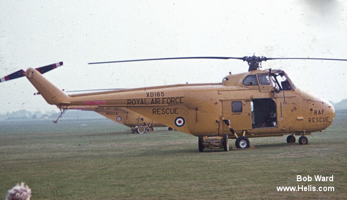 Helicopter Westland Whirlwind HAR.4 Serial wa 22 Register XD165 used by Royal Air Force. Built 1954. Aircraft history and location