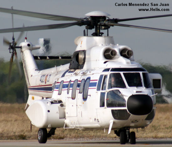 Helicopter Aerospatiale AS332M1 Super Puma Serial 2329 Register HT.21A-2 used by Ejercito del Aire (Spanish Air Force). Built 1993. Aircraft history and location