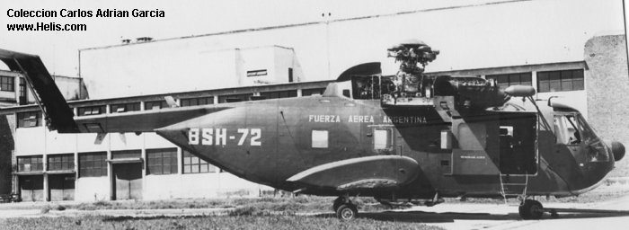 Helicopter Sikorsky S-61R Serial 61-763 Register BSH-72 used by Fuerza Aerea Argentina (Argentine Air Force). Built 1975. Aircraft history