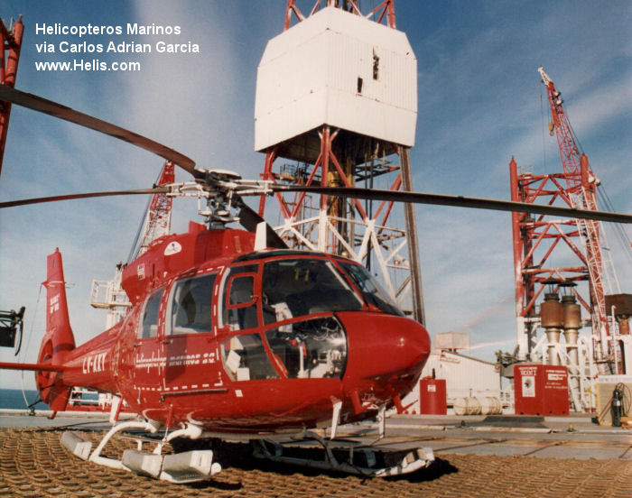 Helicopter Aerospatiale SA365C2 Dauphin 2 Serial 5073 Register F-GEPN LV-AXY EC-DUT D-HELY used by Heli-Union Helicopteros Marinos Helicsa Heli Unionair GmbH. Aircraft history and location
