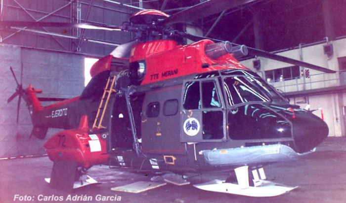 Helicopter Aerospatiale AS332B Super Puma Serial 2072 Register AE-526 used by Aviacion de Ejercito Argentino (Argentine Army Aviation). Built 1983. Aircraft history and location