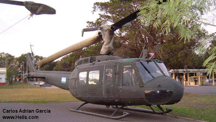 Helicopter Bell UH-1H Iroquois Serial 12255 Register 0876 69-16657 used by Comando de Aviacion Naval Argentina (Argentine Navy) US Army Aviation. Aircraft history and location