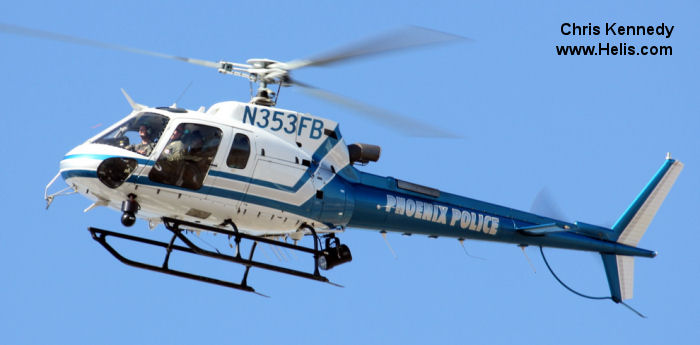 Helicopter Eurocopter AS350B3 Ecureuil Serial 3926 Register N353FB used by PHXPD (Phoenix Police Department). Built 2005. Aircraft history and location