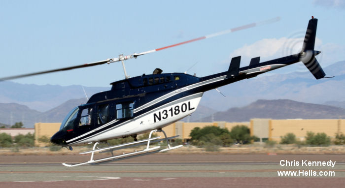 Helicopter Bell 206L-3 Long Ranger Serial 51055 Register N3180L used by GM Leasing. Built 1983. Aircraft history