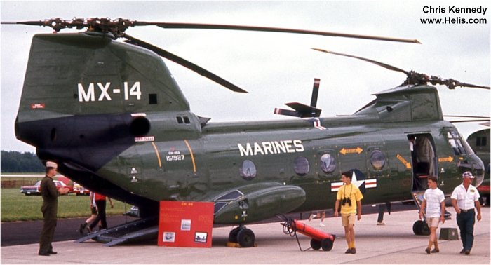 Helicopter Boeing-Vertol CH-46A Serial 2077 Register 151927 used by US Navy (United States Naval Aviation) US Marine Corps. Built 1965. Aircraft history and location