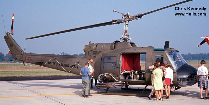 Helicopter Bell UH-1B Iroquois Serial 1145 Register 64-14021 N424NA used by US Army Aviation NASA (National Aeronautics and Space Administration) PJ Helicopters. Aircraft history