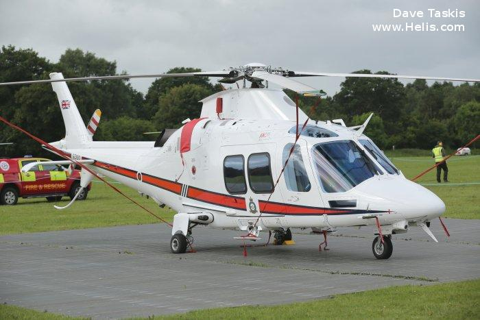 Helicopter AgustaWestland AW109SP GrandNew Serial 22347 Register G-ZIOO GZ100 I-PTFP used by Sloane Helicopters Royal Air Force AgustaWestland Italy. Built 2015. Aircraft history