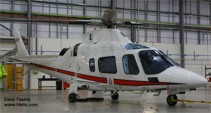 Helicopter AgustaWestland AW109E Power Serial 11664 Register ZR322 G-CDVC used by Royal Air Force AgustaWestland UK. Built 2006. Aircraft history and location