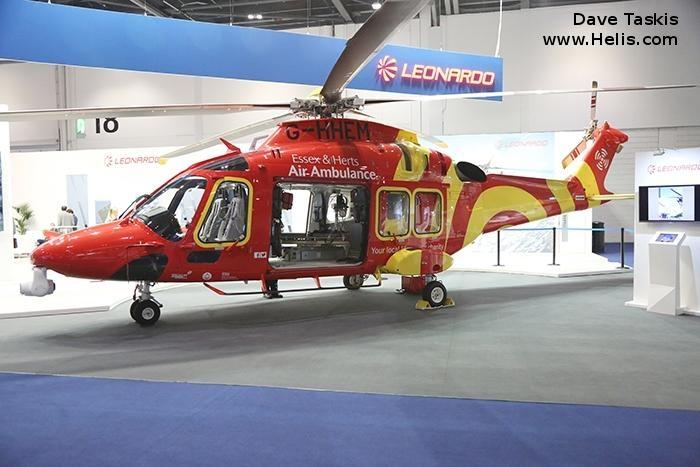 Helicopter AgustaWestland AW169 Serial 69049 Register G-HHEM I-RAIM used by UK Air Ambulances Specialist Aviation Services AgustaWestland Italy. Built 2017. Aircraft history and location