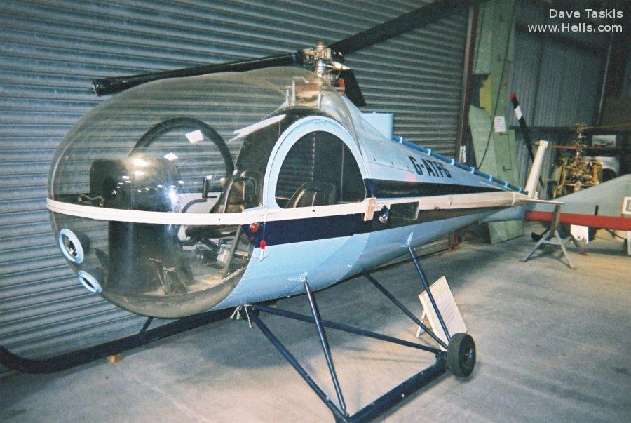 Helicopter Brantly B-2 Serial 448 Register G-ATFG used by British Executive Air Services BEAS. Built 1965. Aircraft history and location