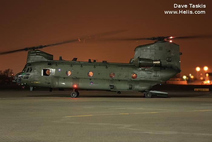 Helicopter Boeing CH-47D Chinook Serial M.7002 Register ZA681 used by Royal Air Force. Built 1993. Aircraft history