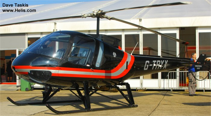 Helicopter Enstrom 480B Serial 5083 Register G-TRYX used by DSA Delta System Air Eastern Atlantic Helicopters. Built 2005. Aircraft history and location