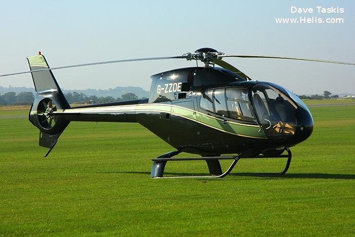 Helicopter Eurocopter EC120B Serial 1196 Register G-ZZOE used by McAlpine Helicopters. Built 2001. Aircraft history and location