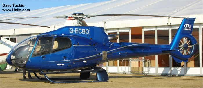 Helicopter Eurocopter EC130B4 Serial 4276 Register OO-PAT G-ECBO used by Eurocopter UK. Built 2007. Aircraft history and location