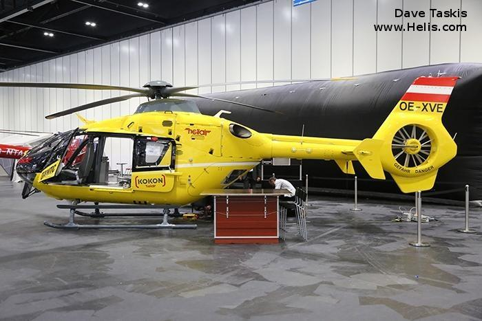 Helicopter Eurocopter EC135T2 Serial 0374 Register OE-XVE PH-EMS used by ÖAMTC (Austrian air rescue) ANWB Medical Air Assistance. Built 2004. Aircraft history and location