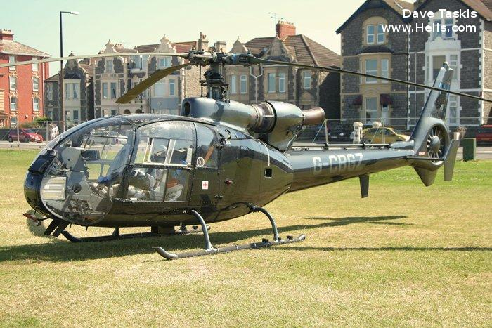 Helicopter Aerospatiale SA341C Gazelle HT.2 Serial 1923 Register G-CBGZ ZB646 used by Fleet Air Arm RN (Royal Navy). Built 1982. Aircraft history and location