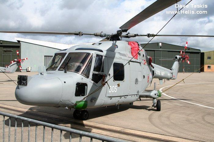Helicopter Westland Lynx  HAS2 Serial 166 Register XZ720 used by Fleet Air Arm (Royal Navy). Built 1980. Aircraft history