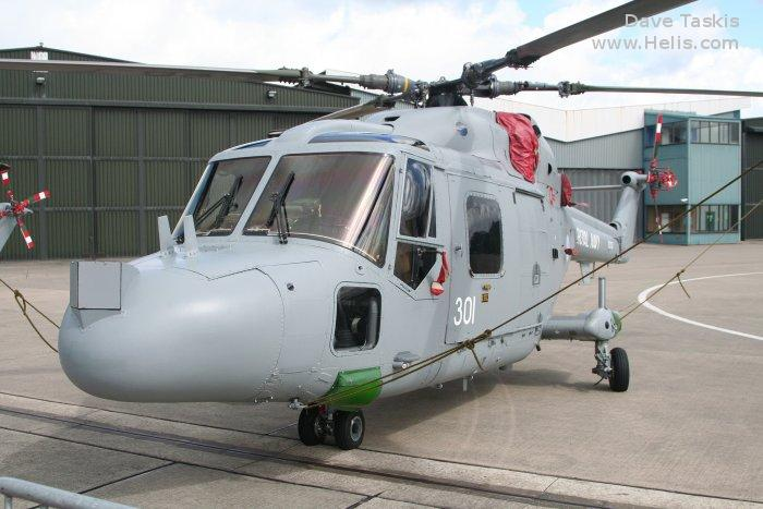 Helicopter Westland Lynx  HAS2 Serial 199 Register XZ727 used by Fleet Air Arm (Royal Navy). Built 1980. Aircraft history