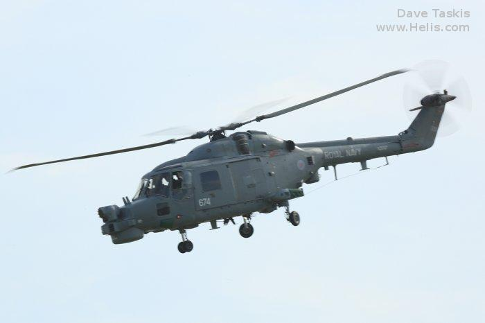 Helicopter Westland Lynx  HAS2 Serial 145 Register XZ697 used by Fleet Air Arm (Royal Navy). Built 1979. Aircraft history