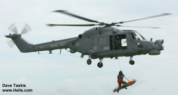 Helicopter Westland Lynx  HAS2 Serial 222 Register XZ736 used by Fleet Air Arm (Royal Navy). Built 1980. Aircraft history