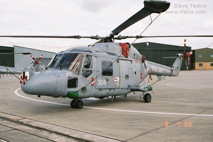 Helicopter Westland Lynx  HAS2 Serial 084 Register XZ250 used by Fleet Air Arm RN (Royal Navy). Built 1978. Aircraft history and location