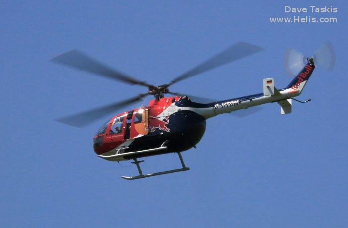 Helicopter MBB Bo105C Serial S-140 Register D-HTDM D-HAYE D-HDEH used by Flying Bulls Heliconcept GmbH (heliconcept ltd) Landespolizei (German Local Police) MBB. Built 1974. Aircraft history and location
