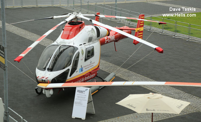 Helicopter McDonnell Douglas MD902 Explorer Serial 900/00124 Register G-CIGX G-CNWL N9027N N902FN used by UK Air Ambulances Specialist Aviation Services MD Helicopters. Built 2008. Aircraft history