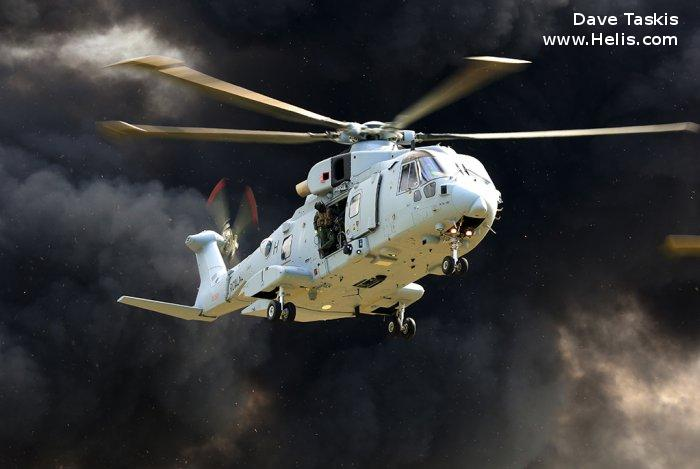 Helicopter AgustaWestland Merlin HC.3 Serial 50133 Register ZJ124 used by Fleet Air Arm RN (Royal Navy) ,Royal Air Force RAF. Built 2000. Aircraft history and location
