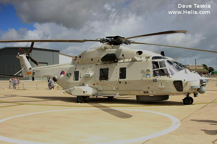Helicopter NH Industries NH90 NFH Serial 1110 Register N-110 used by Marine Luchtvaartdienst (Royal Netherlands Navy). Aircraft history and location