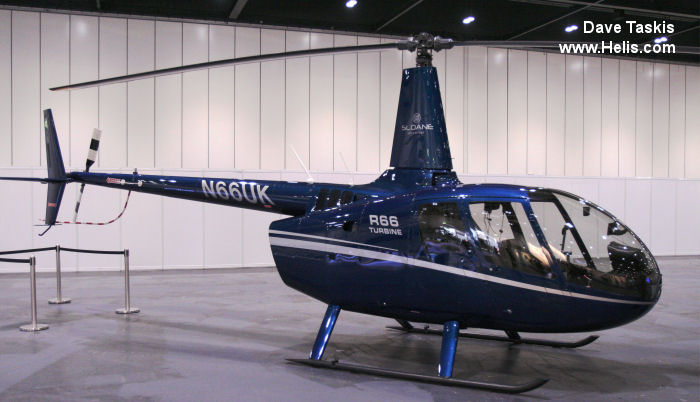 Helicopter Robinson R66 Turbine Serial 0017 Register N66UK used by Sloane Helicopters ,Robinson Helicopter. Aircraft history and location