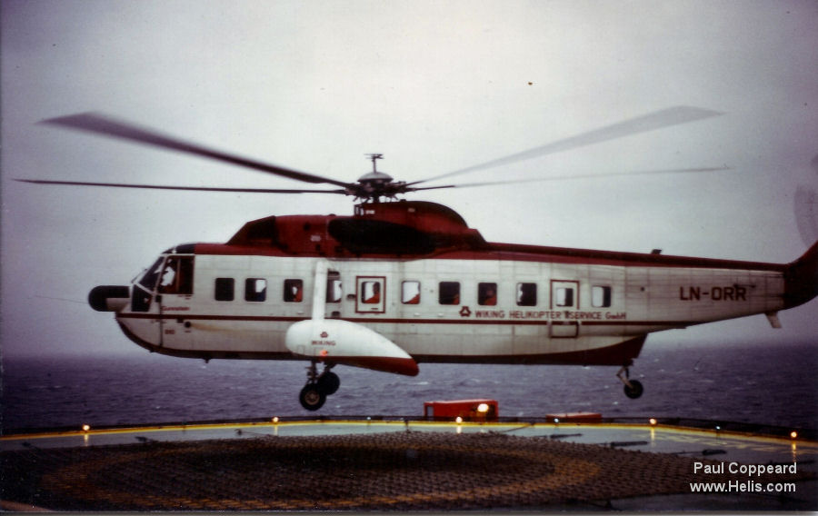 Helicopter Sikorsky S-61N Serial 61-810 Register PT-YAF LN-ORR used by Aeroleo Taxi Aereo ,Wiking Helikopter Service GmbH. Built 1978. Aircraft history and location
