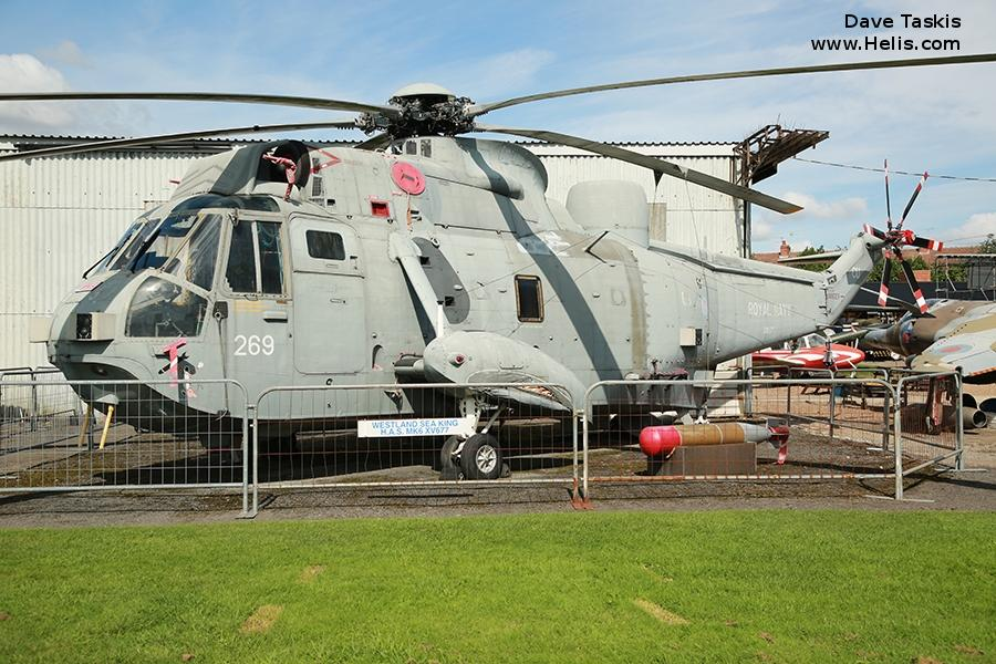 Helicopter Westland Sea King HAS.1 Serial wa 665 Register XV677 used by Fleet Air Arm RN (Royal Navy). Built 1970. Aircraft history and location