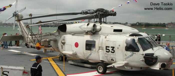 Helicopter Mitsubishi SH-60J Seahawk Serial 1053 Register 8253 used by Japan Maritime Self-Defense Force JMSDF (Japanese Navy). Aircraft history and location