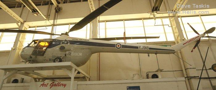 Helicopter Bristol Sycamore 4 Serial 13413 Register XJ918 used by Royal Air Force. Built 1956. Aircraft history and location