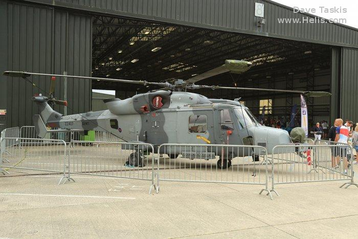 Helicopter AgustaWestland AW159 Wildcat AH1 Serial 477 Register ZZ407 used by Army Air Corps AAC (British Army) ,AgustaWestland UK. Built 2012. Aircraft history and location